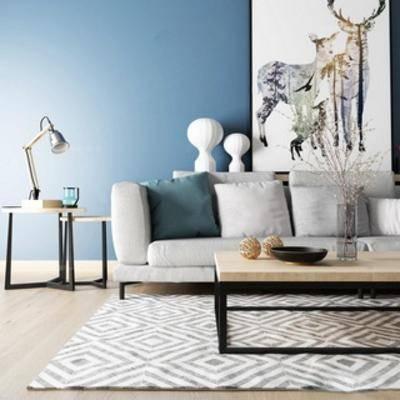 沙发茶几组合, 北欧沙发, 灯, 北欧, 装饰画, 边几, 下得乐3888套模型合辑