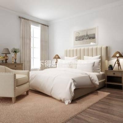 单人沙发, 美式, 双人床, 床具组合, 现代窗帘, 下得乐3888套模型合辑
