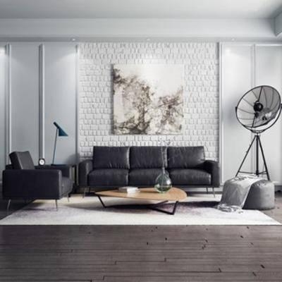 沙发, 沙发茶几组合, 简约, 现代, 茶几, 下得乐3888套模型合辑