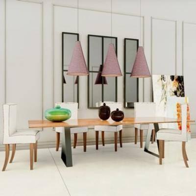 组合, 餐桌椅, 美式, 现代, 餐桌椅组合
