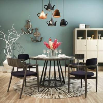组合, 餐桌椅, 现代, 简约, 餐桌椅组合, 下得乐3888套模型合辑