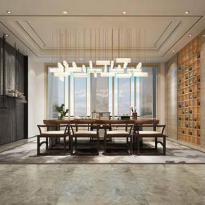 茶室, 桌椅组合, 中式