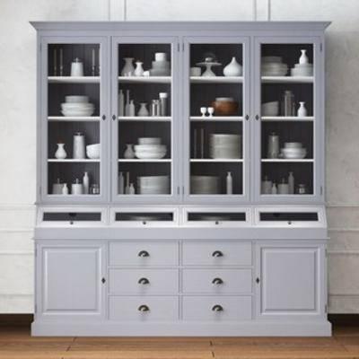 国外模型, 柜架, 置物柜, 置物架, 美式, 现代, 简约, 餐具