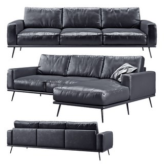 现代简约皮艺多人沙发