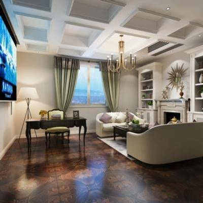 会客厅, 美式, 现代, 沙发茶几组合, 吊灯, 落地灯, 置物柜, 壁炉