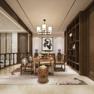 茶具, 茶室, 桌椅组合, 中式
