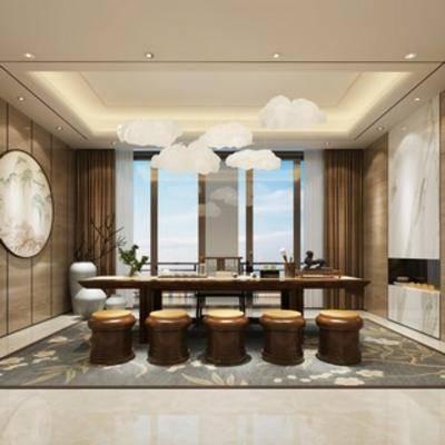 风格, 茶室, 桌椅组合, 中式
