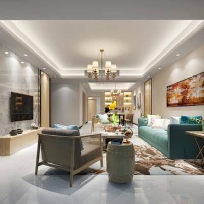 客厅, 现代, 沙发茶几组合, 吊灯, 挂画