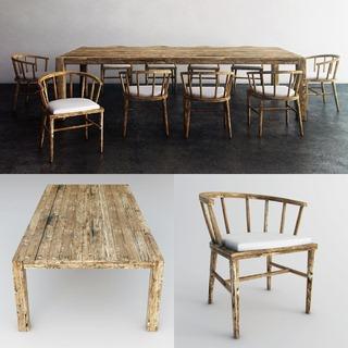 现代,餐桌椅,组合,田园