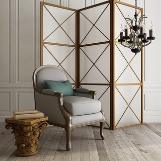 欧式,单人沙发,简约,组合,屏风,边几