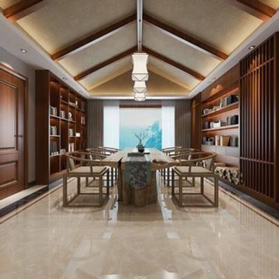 茶室, 中式风格, 吊灯, 椅子, 长桌, 置物柜