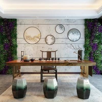 茶室, 中式风格, 椅子, 盆栽, 茶桌