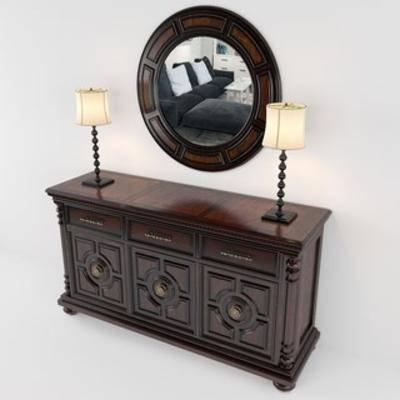 边柜台灯, 国外模型, 美式古典, 镜子, 组合