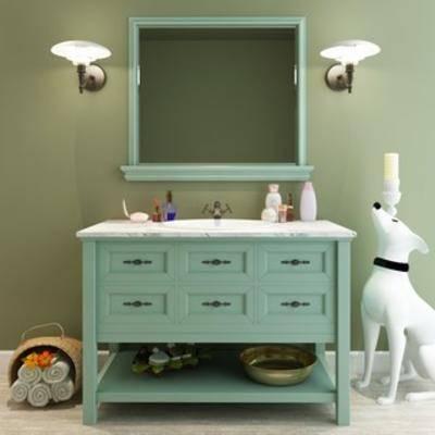 陈设品, 洗手台, 田园, 组合, 美式, 下得乐3888套模型合辑