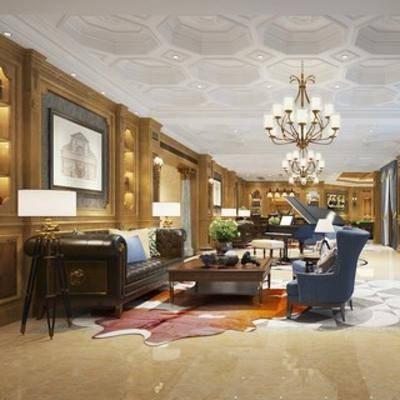 会客室, 沙发茶几组合, 欧式, 吊灯, 挂画, 台灯