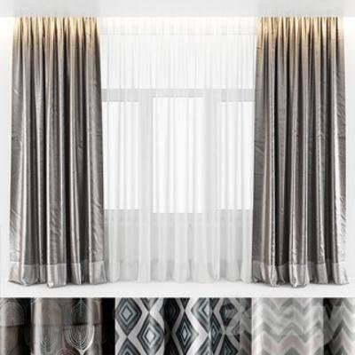 国外模型, 现代窗帘, 布艺, 窗帘, 现代, 简约