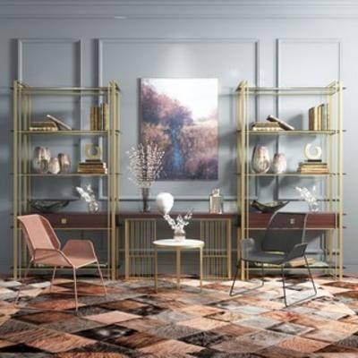 简约, 组合, 端景台, 书柜, 后现代, 单椅