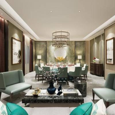 新中式, 客餐厅, 包房, 客厅, 餐厅, 沙发茶几组合, 中式, 餐桌椅组合