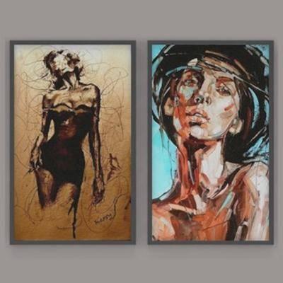 国外模型, 油画, 挂画, 装饰画, 现代简约, 现代