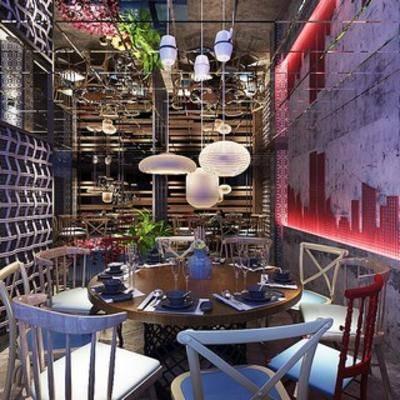 混搭, 后现代, 餐厅, 现代, 吊灯, 餐桌, 椅子, 盆栽