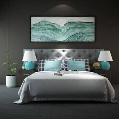 台灯, 简约, 现代, 现代简约, 组合, 床头柜, 床具, 双人床, 现代床具, 下得乐3888套模型合辑