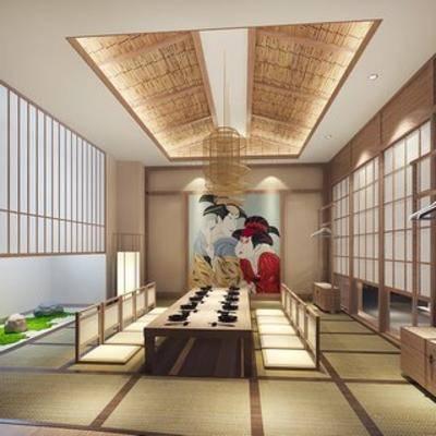 和式, 日式餐厅, 日式, 包房, 餐厅, 桌椅组合, 落地灯