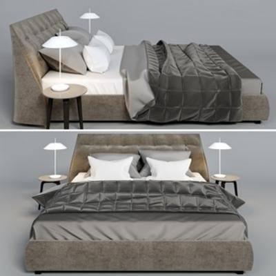 现代床具, 国外模型, 双人床, 北欧, 床头柜, 现代简约, 现代, 简约, 台灯