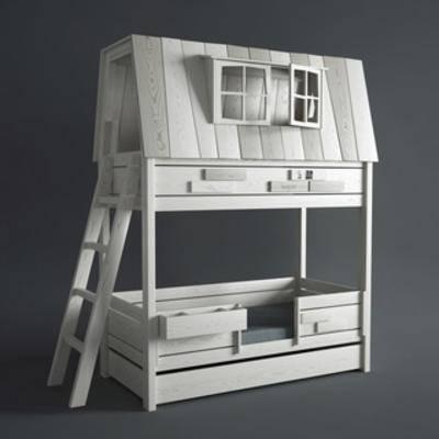 国外模型, 双层床, 儿童, 儿童床, 现代简约, 美式, 现代