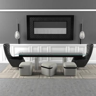 桌椅组合, 简约, 现代简约, 现代椅子, 桌椅, 后现代, 现代桌子, 下得乐3888套模型合辑