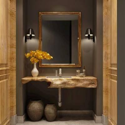 陈设品组合, 花瓶, 洗手台, 壁灯, 镜子, 现代简约