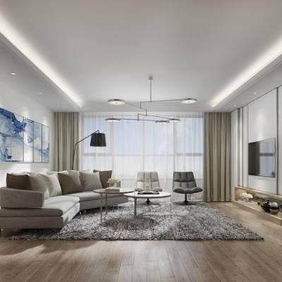 客厅, 现代, 沙发茶几组合, 吊灯, 边柜, 电视, 扮家家-积分兑换300套模型【三】