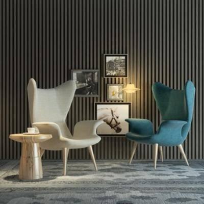 单椅, 边几, 北欧, 现代椅子, 现代简约, 椅子, 下得乐3888套模型合辑