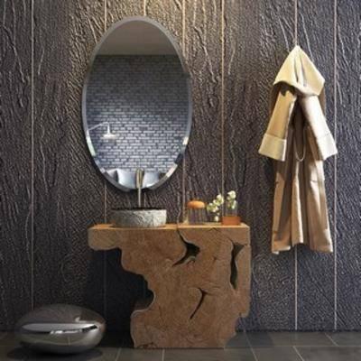 现代洗手台, 现代陈设品, 陈设品, 洗手台, 组合, 现代简约