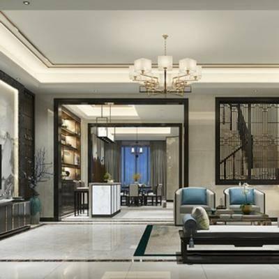 客厅, 桌椅组合, 沙发, 吊灯, 新中式