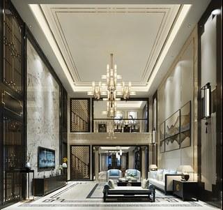 吊灯,沙发,新中式风格,电视柜,客厅,新中式