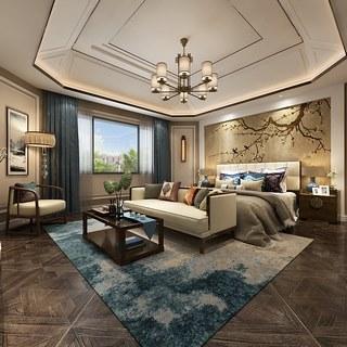 吊灯,卧室,新中式风格,床头柜,新中式,双人床