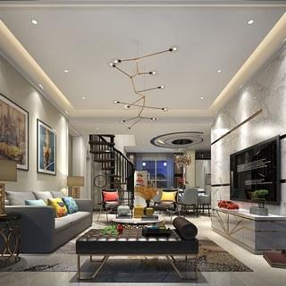 桌椅组合,多人沙发,简约,客厅,后现代