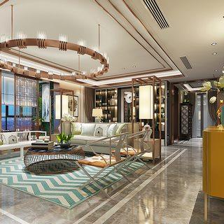 吊灯,新中式风格,多人沙发,客厅,新中式