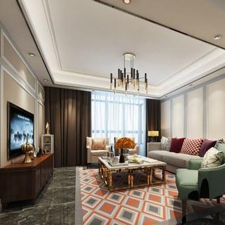 吊灯,多人沙发,简约,客厅,后现代