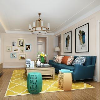 桌椅组合,现代,客厅,混搭风格,挂画