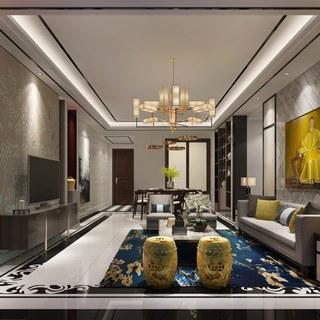 中式沙发,多人沙发,客厅,中式客厅,新中式