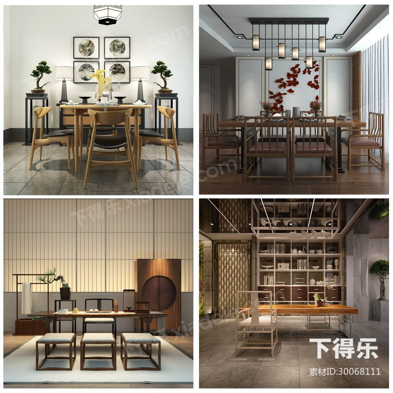 9套下得乐中式桌椅组合合集,中式