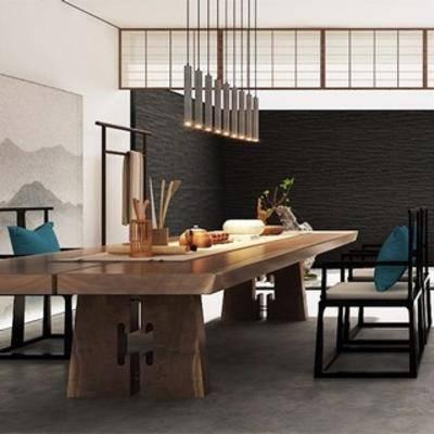 中式挂画, 茶室, 中式桌椅, 中式风格, 吊灯