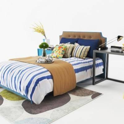 双人床, 现代床, 现代简约, 现代, 简约, 床