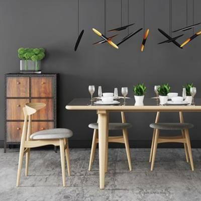 现代简约, 现代椅子, 餐桌椅, 现代餐桌, 现代