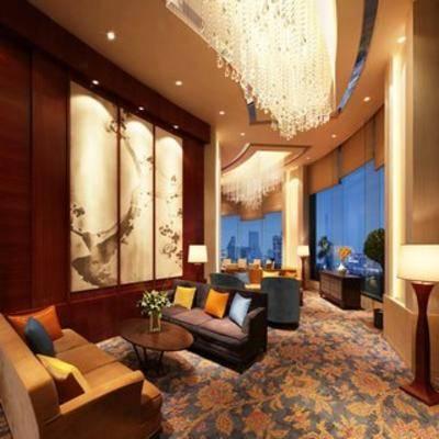 会客厅, 现代酒店, 沙发茶几组合, 吊灯