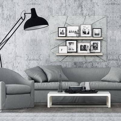 现代沙发, 沙发茶几组合, 现代茶几, 现代, 挂画