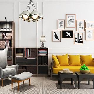北欧简约单人椅书柜沙发茶几组合