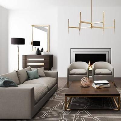 沙发茶几组合, 现代, 落地灯, 吊灯