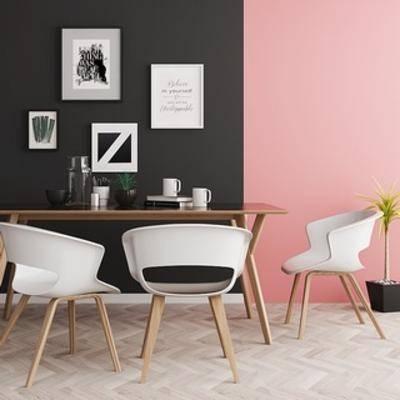 桌椅组合, 北欧椅子, 北欧桌椅组合, 北欧桌子, 北欧简约, 北欧, 下得乐3888套模型合辑, 扮家家-积分兑换300套模型【三】